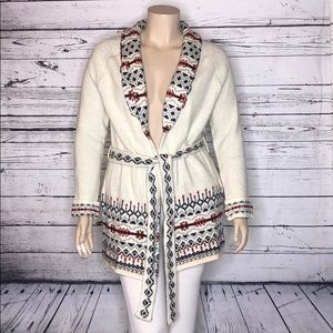 Wrangler NWT XL Ivory Sweater Coat Cardigan & Belt